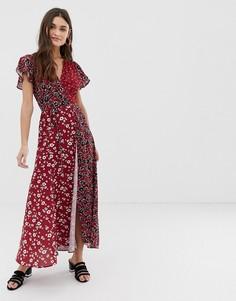 Платье макси с запахом и V-образным вырезом French Connection - Мульти