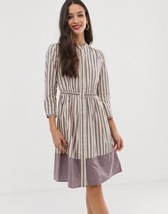 Платье в полоску с длинными рукавами French Connection - Фиолетовый