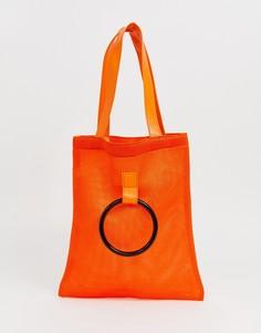 Сетчатая сумка для покупок с ручкой French Connection - Красный