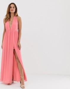 Платье макси с разрезом French Connection - Розовый