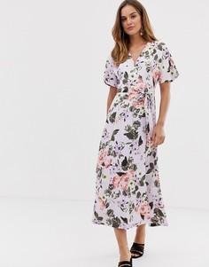 Платье макси с запахом и цветочным принтом French Connection Armoise - Фиолетовый