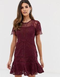 Платье миди с кружевными вставками French Connection Chante - Красный
