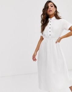 Белое хлопковое легкое платье миди с воротником поло Na-kd - Белый