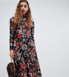 Платье миди с цветочным принтом Monki - Мульти