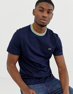 Темно-синяя футболка с контрастной отделкой Lacoste - Темно-синий
