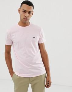 Розовая футболка с круглым вырезом и логотипом Lacoste - Розовый