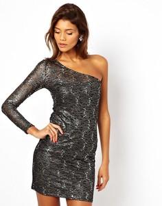 Кружевное платье на одно плечо Lipsy - Мульти