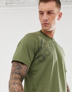 Футболка цвета хаки с логотипом Adidas Training - Зеленый