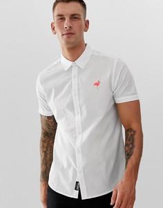 Рубашка с короткими рукавами и вышитым фламинго Threadbare - Белый