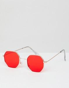 Шестиугольные солнцезащитные очки с красными стеклами 7X - Красный
