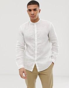 Белая льняная приталенная рубашка с воротником-стойкой и длинными рукавами Celio - Белый