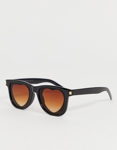 Солнцезащитные очки со стеклами в форме сердечек SVNX - Черный 7X