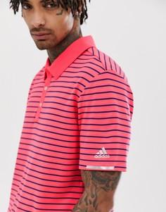 Красная футболка-поло в полоску Adidas Golf Climachill - Красный