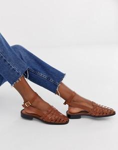 Светло-коричневые кожаные туфли на плоской подошве ASOS DESIGN Mady - Рыжий