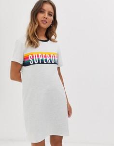 Платье с логотипом и контрастной отделкой Superdry - carnival - Серый