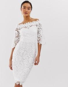 Платье кроше с открытыми плечами и оборками на рукавах Paper Dolls - Белый