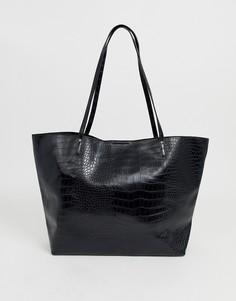 Сумка с рисунком крокодиловой кожи ASOS DESIGN - Черный