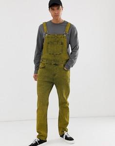 Желтый джинсовый комбинезон с эффектом кислотной стирки ASOS DESIGN - Желтый