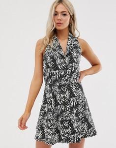 Платье мини с пальмовым принтом ASOS DESIGN - Мульти