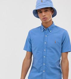 Синяя оксфордская приталенная рубашка с короткими рукавами и логотипом Polo Ralph Lauren эксклюзивно для Asos - Синий