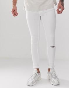 Белые супероблегающие джинсы с рваной отделкой Blend - flurry - Белый