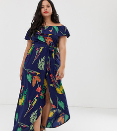 Темно-синее платье с открытыми плечами и цветочным принтом Influence Plus - Темно-синий