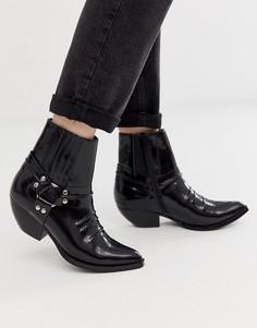 Ботинки в стиле вестерн на среднем каблуке с ремешками и заклепками Jeffrey Campbell - Черный
