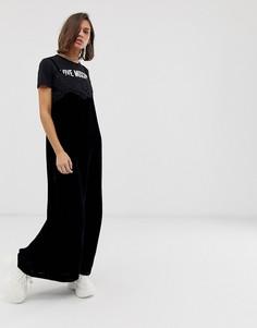 Платье макси с надписью I love Moschino и бархатной отделкой Love Moschino - Черный