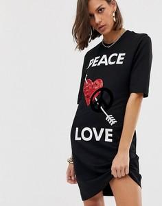 Платье с надписью peace and love и отделкой пайетками Love Moschino - Черный