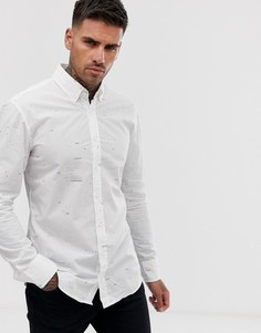 Белая рубашка с длинными рукавами и принтом BOSS Mabsoot - Белый