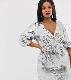 Серебристое платье мини с запахом и пайетками TFNC Plus - Серебряный