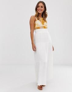 Многоярусная летняя юбка макси из жатого хлопка ASOS DESIGN - Белый