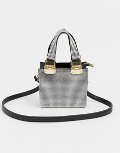 Небольшая серебристая сумка-тоут со стразами River Island - Серебряный