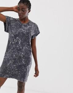 Выбеленное платье-футболка Cheap Monday - Черный