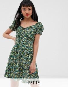 Платье с вырезом сердечком и цветочным принтом New Look Petite - Мульти