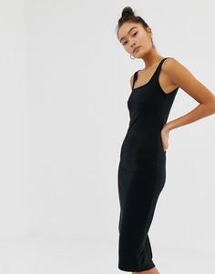 Черное трикотажное платье миди Pimkie - Мульти