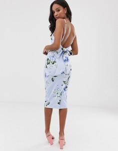Платье миди с цветочным принтом и завязкой на спине ASOS DESIGN - Синий