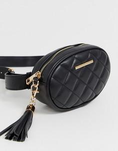 Стеганая сумка через плечо с ремешком-цепочкой и кисточкой Aldo - Черный
