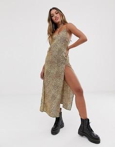 Платье макси со звериным принтом и открытой спиной Motel - Коричневый