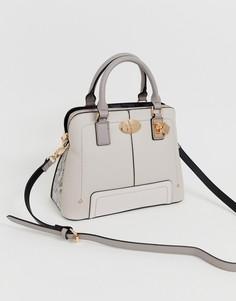 Светло-серая сумка на плечо с золотистыми элементами River Island - Серый
