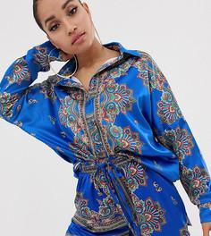 Комбинируемая синяя атласная рубашка с платочным принтом Missguided Petite - Мульти