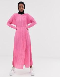 Плиссированное платье макси с драпировкой на поясе ASOS DESIGN - Розовый