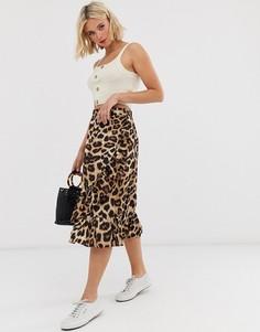 Юбка миди с леопардовым принтом Pieces - Коричневый