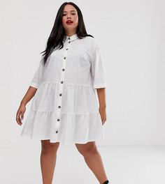 Свободное ярусное платье мини на пуговицах ASOS DESIGN Curve - Белый