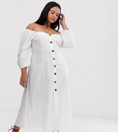 Платье макси на пуговицах ASOS DESIGN Curve - Белый