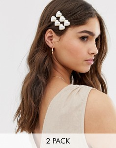 Заколки для волос с сердечками из искусственного жемчуга DesignB London - Золотой