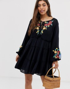 Платье с вышивкой Free People Spell On You - Черный