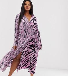Платье макси с запахом и звериным принтом эксклюзивно для ASOS DESIGN Curve - Мульти