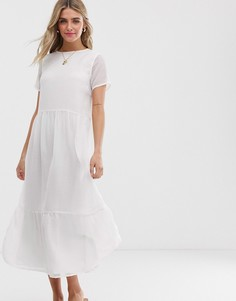 Свободное фактурное платье макси Pieces - Белый
