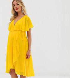 Платье миди с кейпом ASOS DESIGN Maternity - Желтый